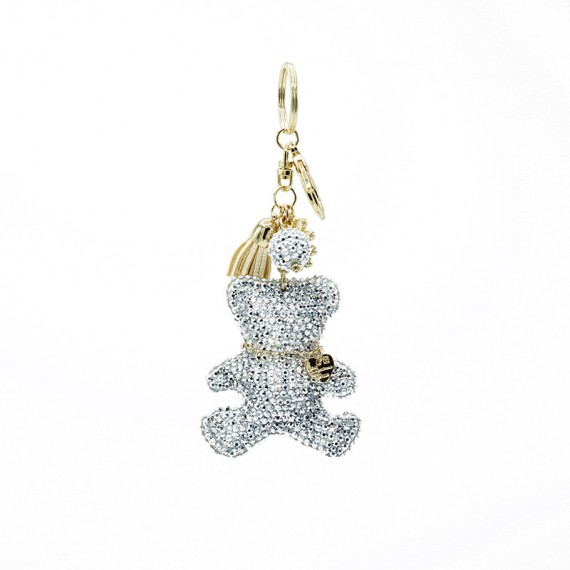 Grey Diamond Bear Bag Charm