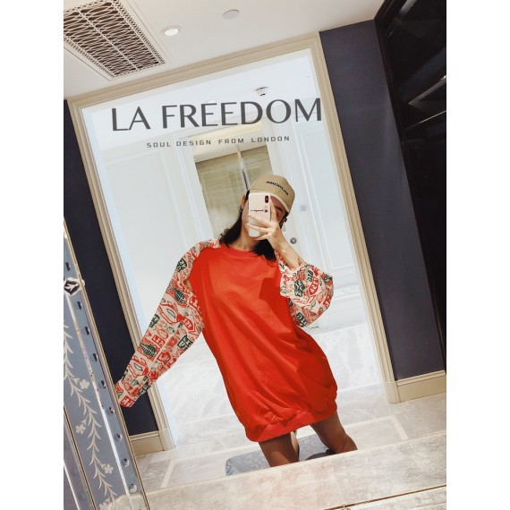 LA Freedom Removable Sleeve Sweater-Orange