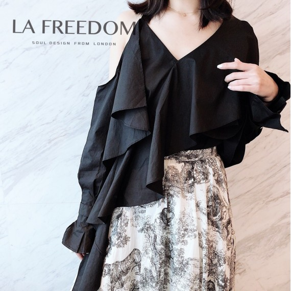 LA Freedom Strapless Lotus Shirt-Black