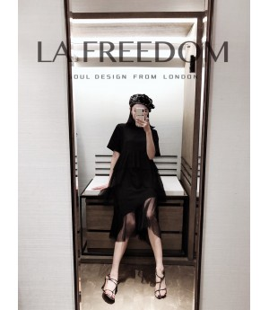 LA Freedom Silk Short Sleeve Dress-Black