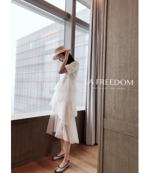 LA Freedom Silk Short Sleeve Dress-White