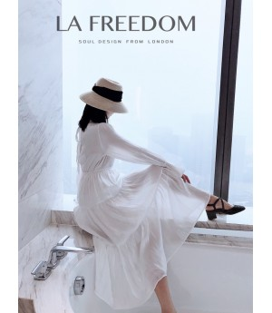 LA Freedom Memory Silk Light Dress-White