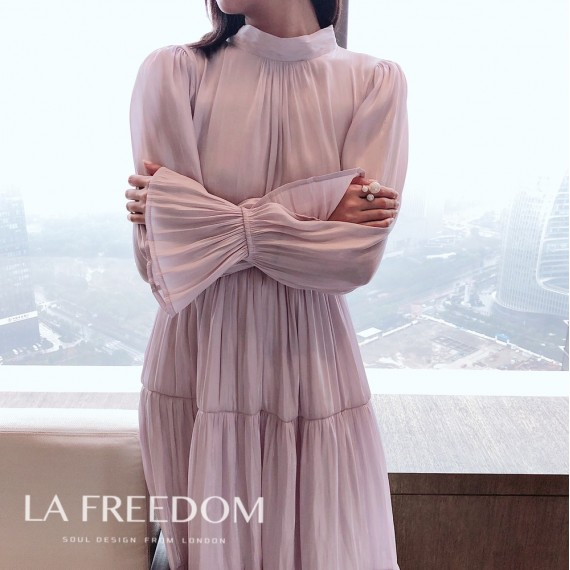 LA Freedom Memory Silk Light Dress-Purple