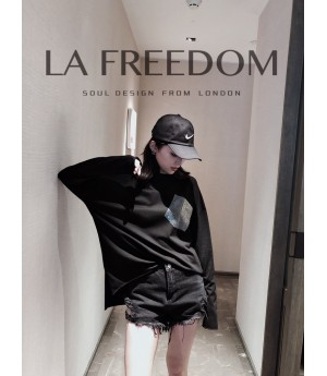 LA Freedom Diamond Shirt with Pocket-Black