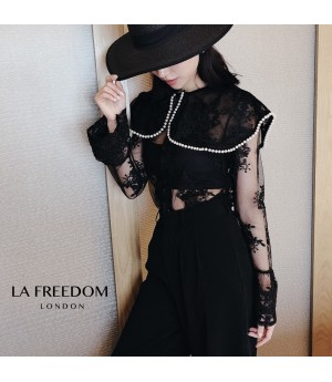 LA Freedom Flower Pearl Lace Shirt