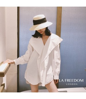 LA Freedom Bow-Knot Back Shirt-White