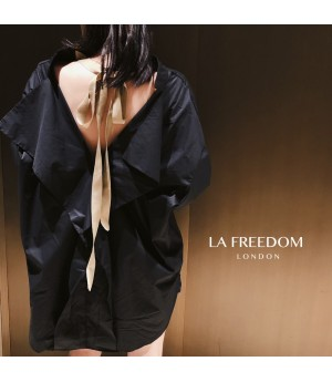 LA Freedom Bow-Knot Back Shirt-Black