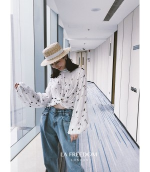 LA Freedom Star Pattern Lantern Sleeve Shirt-White
