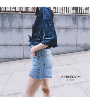 LA Freedom Hot Stamping Velvet Shirt-Blue