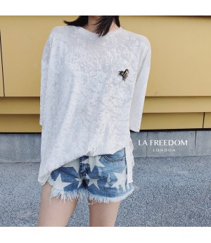 LA Freedom Hot Stamping Velvet Shirt-White