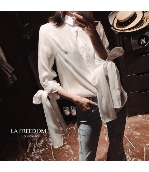 LA Freedom Bow Knot Silk Shirt-White