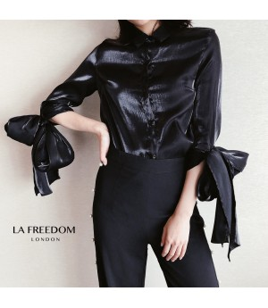 LA Freedom Bow Knot Silk Shirt-Black