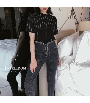 LA Freedom Diamond Vertical Stripe Shirt-Black