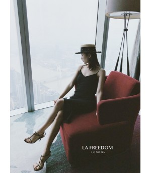 LA Freedom Wrinkle Lace Dress-Black