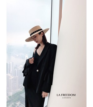 LA Freedom Lotus Sleeve Suit-Black