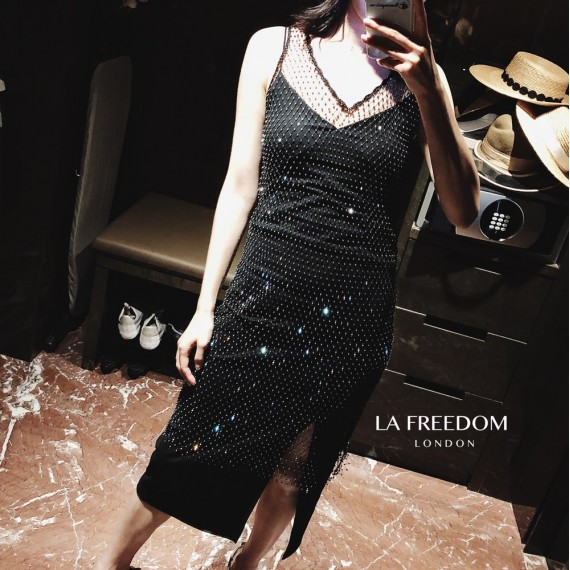LA Freedom Diamond Fishing Net Dress