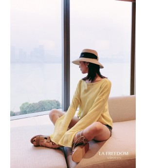 LA Freedom Sunscreen Sweater-Light Yellow