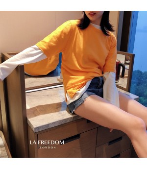 LA Freedom Colored T-Shirt Two-Set-Orange