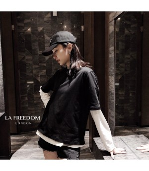LA Freedom Colored T-Shirt Two-Set-Black