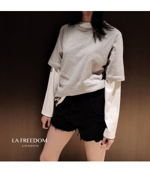 LA Freedom Colored T-Shirt Two-Set-Grey