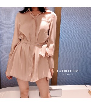 LA Freedom Retro Shirt&Coat Two-Set-Pink