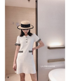 LA Freedom CHANEL Style Knit Dress-White