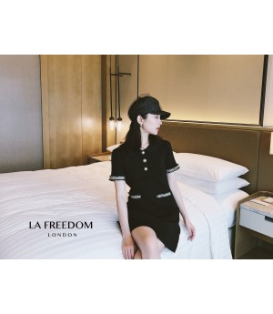 LA Freedom CHANEL Style Knit Dress-Black