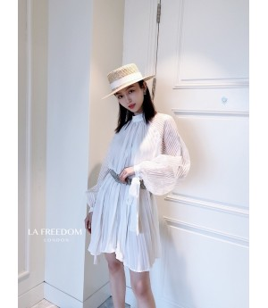 LA Freedom Standing Collar Pleated Dress-White