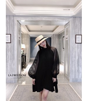 LA Freedom Standing Collar Pleated Dress-Black