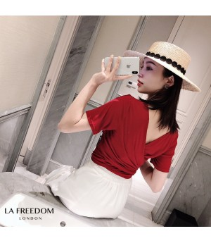 LA Freedom Multiple wearing methods Lacing Shirt-Red