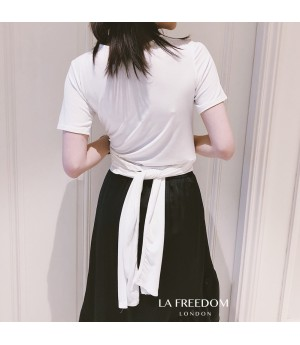 LA Freedom Multiple wearing methods Lacing Shirt-White