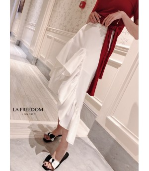 LA Freedom Asymmetry Skirt-White