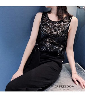 LA Freedom Pearl Sequin Vest-Black