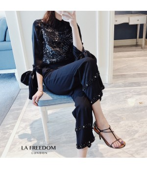 LA Freedom High Waist Lace Pearl Pants-Black
