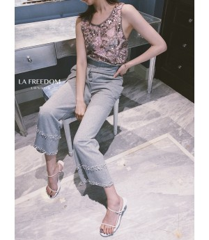 LA Freedom High Waist Lace Pearl Pants-Grey