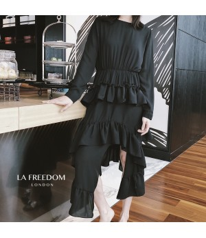 LA Freedom Irregularity Lotus Side Dress-Black