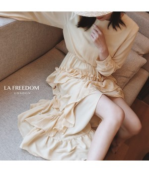 LA Freedom Irregularity Lotus Side Dress-Light Yellow
