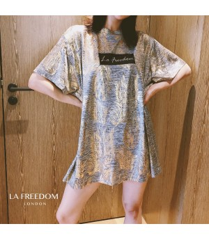 LA Freedom Gilding Printing T-Shirt-Grey Gold