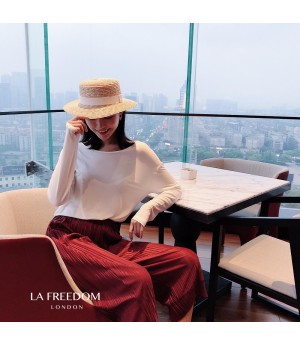 LA Freedom Round Collar Backless Shirt-White