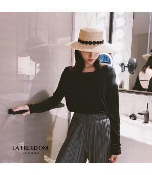 LA Freedom Round Collar Backless Shirt-Black