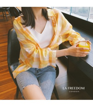 LA Freedom Lattice Sunscreen Shirt-Orange