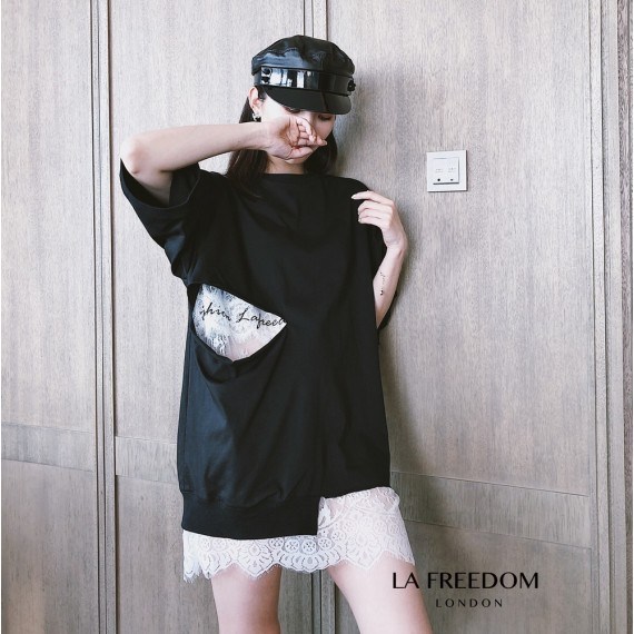 LA Freedom Lace Tee-Black
