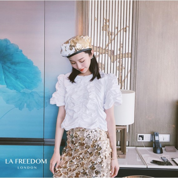 LA Freedom Wrinkle Short Sleeve Top-White