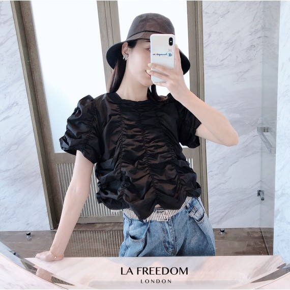 LA Freedom Wrinkle Short Sleeve Top-Black