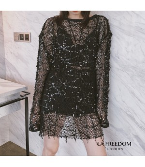 LA Freedom Hollow Sequin Top-Black