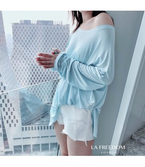 LA Freedom Cocoon Type Round Neck Shirt-Blue