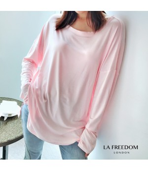 LA Freedom Cocoon Type Round Neck Shirt-PInk
