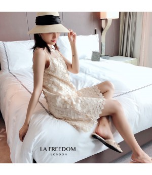LA Freedom Pearl Diamond Lattice Vest Dress