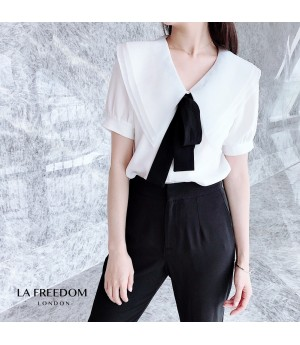 LA Freedom Tip Color Short Sleeve Shirt-White