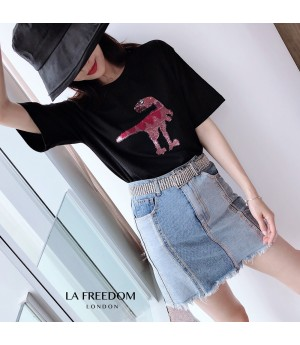 LA Freedom Round Color Dinosaur Shirt-Black